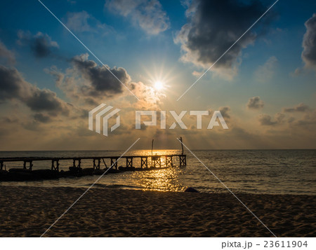 Wooded bridge to the sea between sunset 23611904