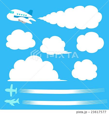 飛行機飛行機雲のイラストセットのイラスト素材 23617577 Pixta