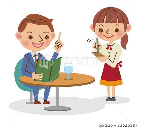 カフェでメニューを見ながら注文するビジネスマンと注文を書き留める ...