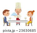 レストランイメージ(料理を運ぶシェフと男女カップル) 23630685