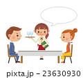 レストランイメージ(男女カップルとウェイトレス・フキダシあり) 23630930