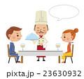 レストランイメージ(料理を運ぶシェフと男女カップル・フキダシあり) 23630932