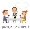 レストランイメージ(ワインを運ぶウェイターと男女カップル・フキダシあり) 23630933