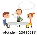 レストランイメージ(案内をするウェイターと男女カップル・フキダシあり) 23630935