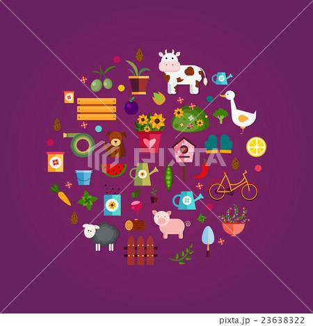 Vector farm life, purple background 23638322