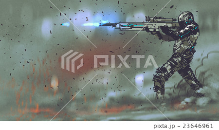 soldier shooting rifle with futuristic concept 23646961