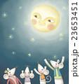メルヘン 満月 ねずみのイラスト 23653451