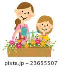 花に水やりする親子 23655507