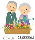 花に水やりするシニア夫婦 23655508