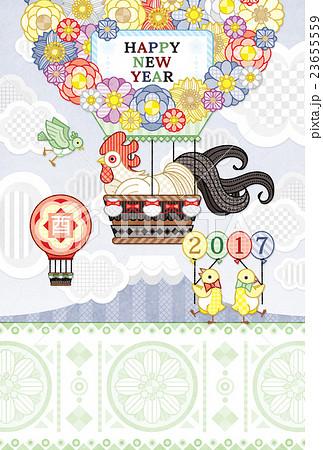 2017年酉年完成年賀状テンプレート「花気球カラフル」HAPPYNEWYEAR 23655559