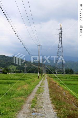 田んぼの中の一本道 23664238