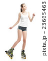young pretty woman on roller skates 23665463