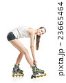 young pretty woman on roller skates 23665464
