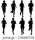 Set of silhouettes. Runners on sprint, men. 23666529