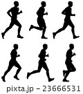 Set of silhouettes. Runners on sprint, men 23666531
