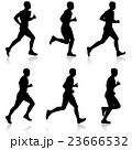 Set of silhouettes. Runners on sprint, men. 23666532