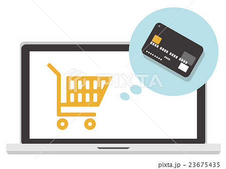 イラスト素材 買い物 ネットショップ クレジットカード 決済 23675435