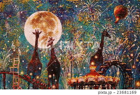 夜の遊園地 23681169