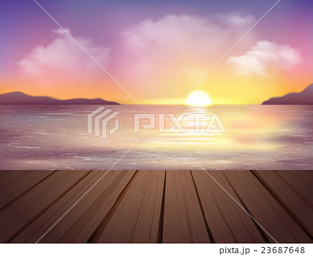 Sunset And Sea Background 23687648
