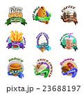 Fastfood Cartoon Colorful Emblems Set 23688197