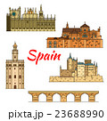 Historical travel landmarks of Spain linear symbol 23688990