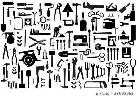 Set retro building toolsのイラスト素材 [23695962] - PIXTA