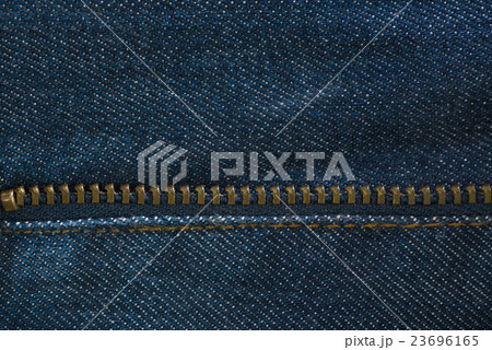 Blue denim jeans texture with zipper, backgroundの写真素材 [23696165] - PIXTA