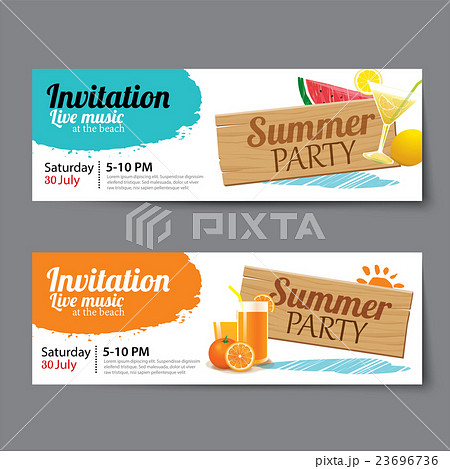summer pool party ticket templateのイラスト素材 23696736 pixta