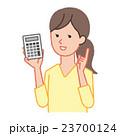 電卓 女性 人物のイラスト 23700124