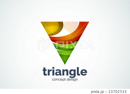 triangle logo template triple cycle or pyramidのイラスト素材