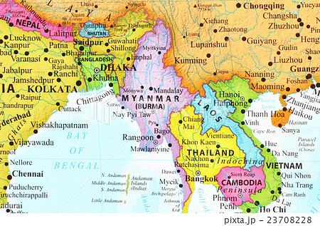 世界地図・ミャンマー 23708228