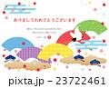 年賀状 はがきテンプレート 鶴のイラスト 23722461