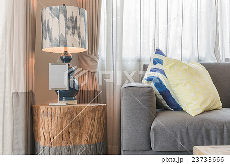 set of pillows on modern grey sofa in living roomの写真素材 [23733666] - PIXTA