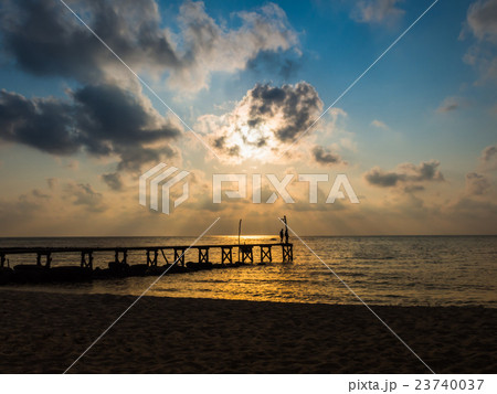 Wooded bridge to the sea between sunset 23740037