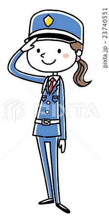 女性警備員:敬礼 23740551
