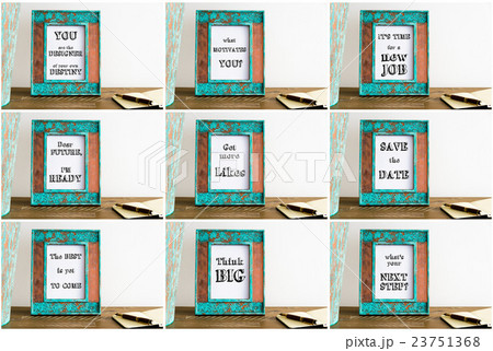 Collage of photo frames with motivational textsの写真素材 [23751368] - PIXTA
