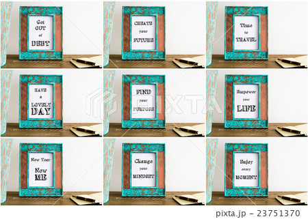 Collage of photo frames with motivational textsの写真素材 [23751370] - PIXTA