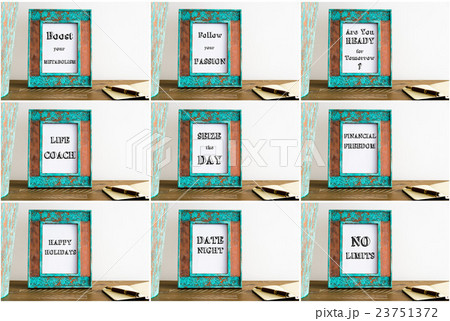 Collage of photo frames with motivational textsの写真素材 [23751372] - PIXTA