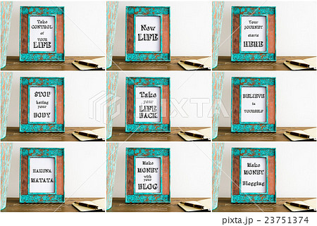 Collage of photo frames with motivational textsの写真素材 [23751374] - PIXTA