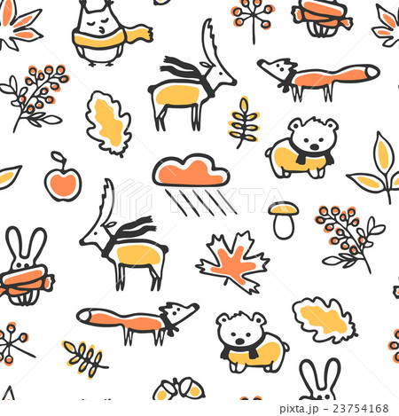 Seamless pattern with doodle autumn illustrationsのイラスト素材 [23754168] - PIXTA