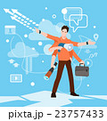 Busy Multitasking Manager Business Man With Many 23757433
