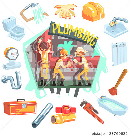 three plumbers at work surrounded by professionのイラスト素材