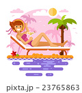 Girl on tropical beach on the sunset 23765863