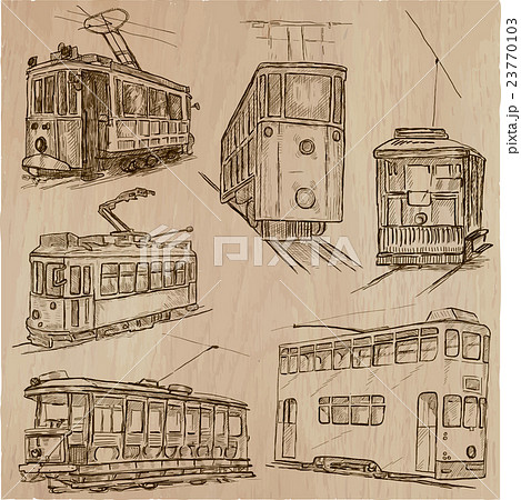 transport pack - hand drawn vector illustrations 23770103