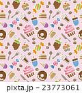 スイーツ パターン ピンクのイラスト 23773061