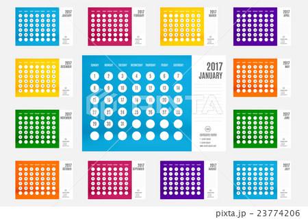 calendar 2017 year 12 month calendar setのイラスト素材 23774206