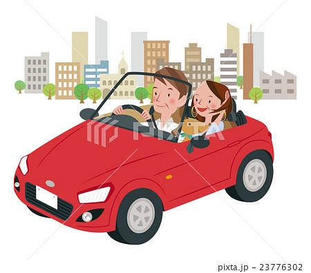 ドライブ中の男女 23776302