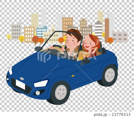 ドライブ中の男女 23776313