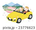 春 カップル オープンカーのイラスト 23776623