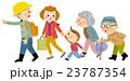 地震 避難 家族のイラスト 23787354